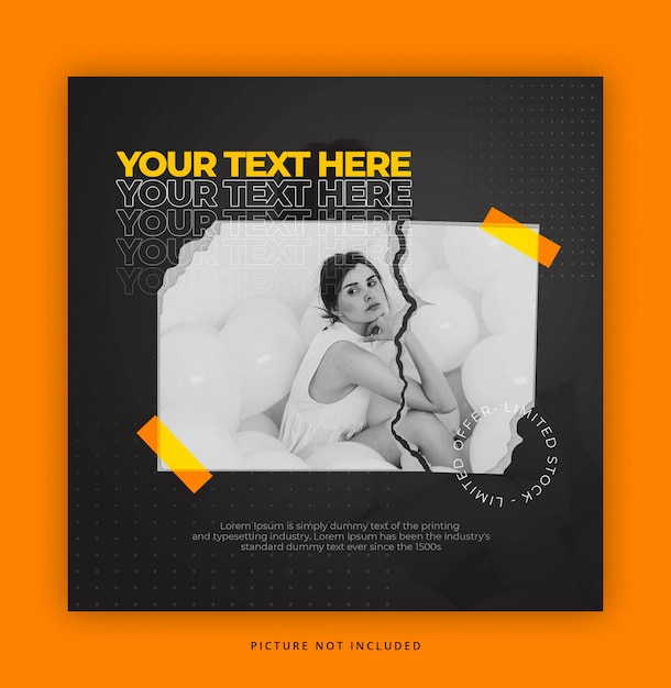 Paper style instagram template with text effect Premium Psd
