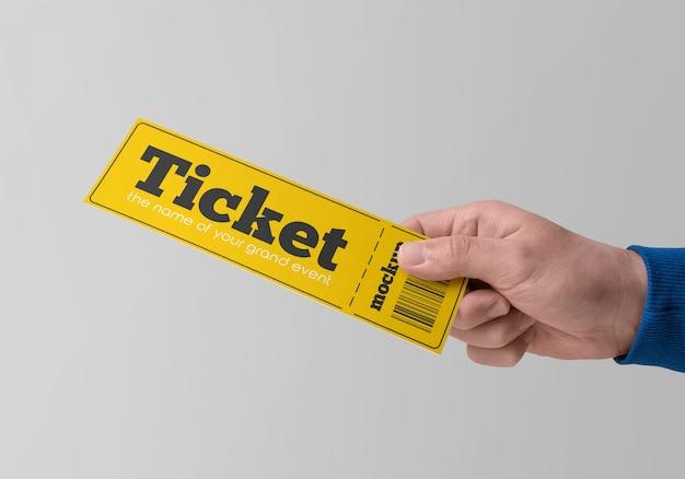 Paper ticket in hand mockup Premium Psd