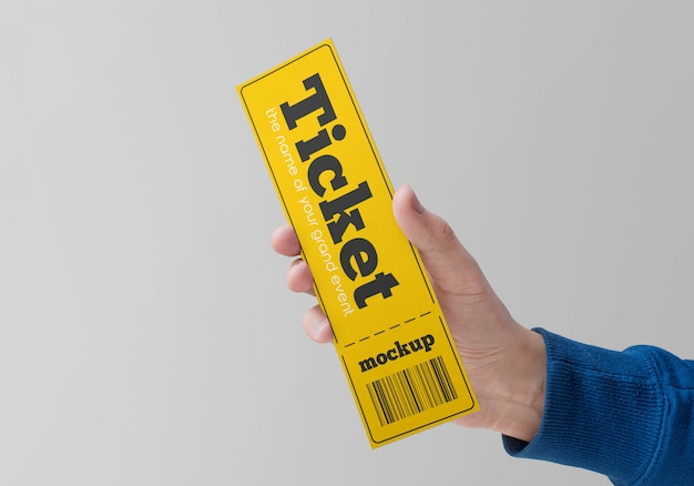 Paper ticket in hand mockup Premium Psd