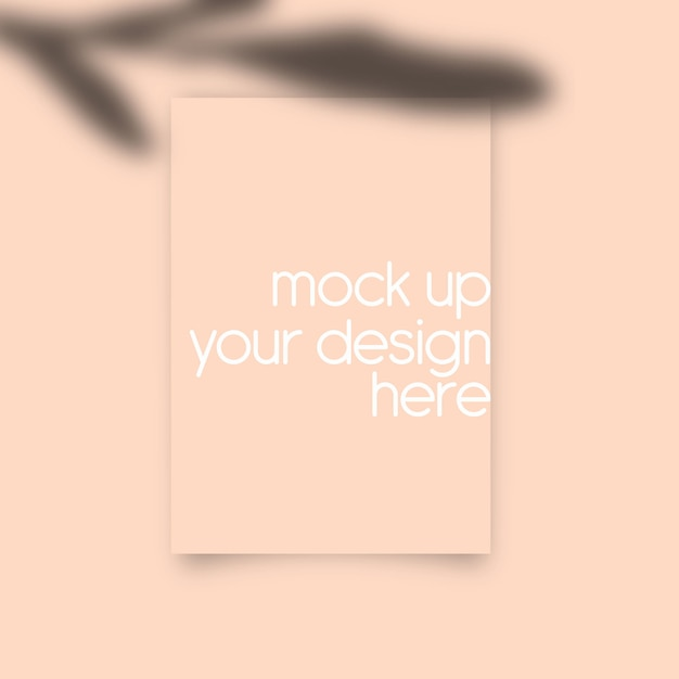 Paper wall art mock up with peach Premium Psd