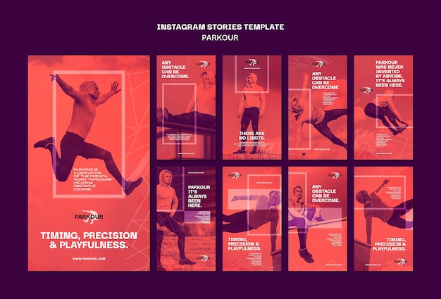 Parkour ad instagram stories template Free Psd