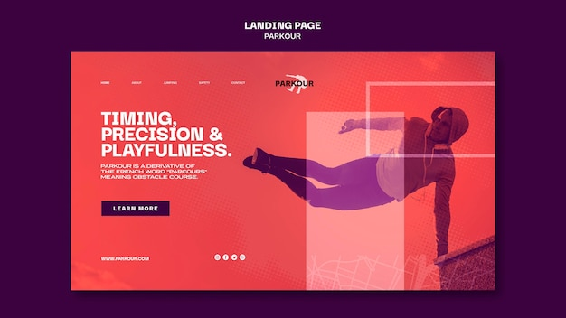 Parkour ad landing page template Free Psd