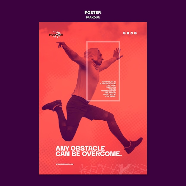 Parkour ad poster template Free Psd