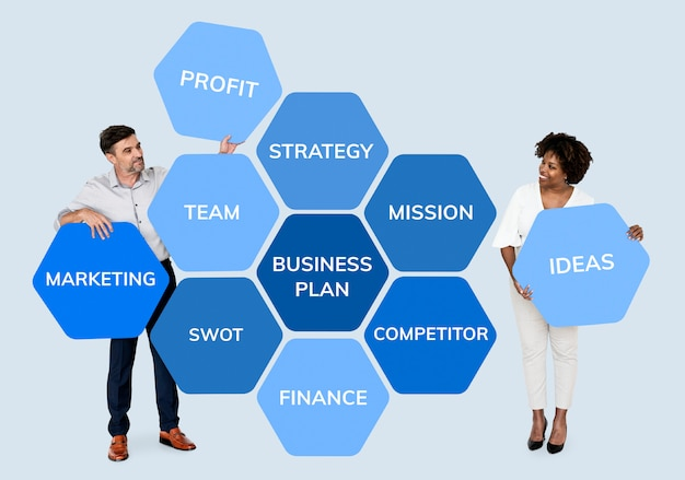 Partners with a business plan Premium Psd