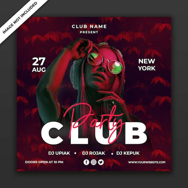 Party club event poster template, square size Premium Psd