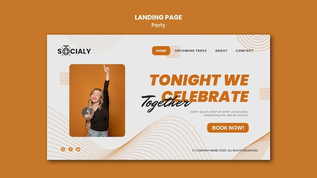 Party concept landing page design Free Psd