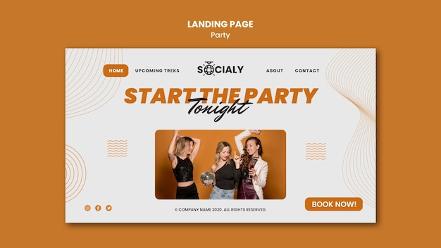 Party concept landing page style Free Psd