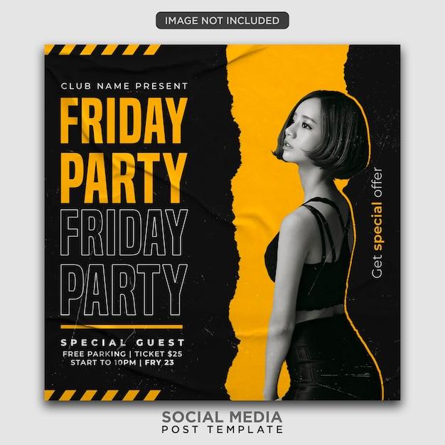 Шаблон флаера для вечеринки или сообщение в социальных сетях Premium Psd