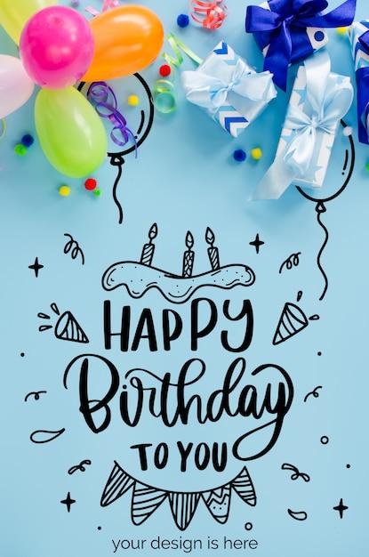 Партия или день рождения синий фон. праздник макет. поздравительная открытка Premium Psd