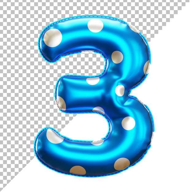 Party polka dot foil balloon 3 numbering in 3d rendering Premium Psd