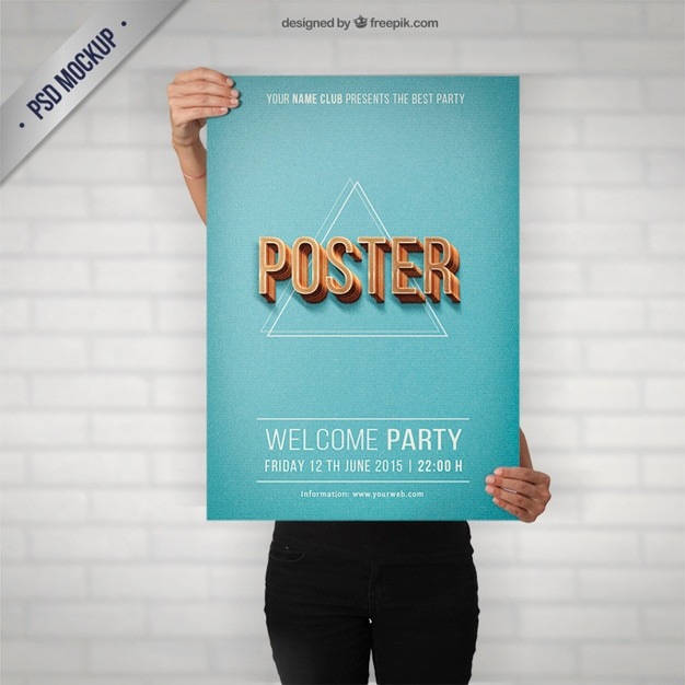 Party poster mockup in retro style Free Psd