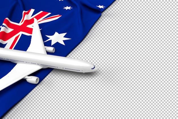 Пассажирский самолет и флаг австралии Premium Psd