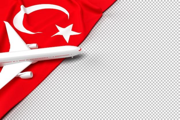 Пассажирский самолет и флаг турции Premium Psd