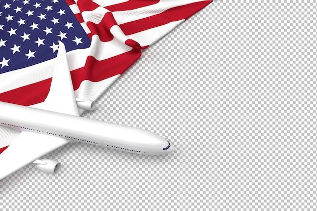 Пассажирский самолет и флаг сша Premium Psd
