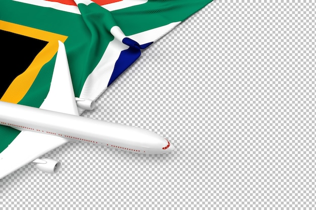 Passenger airplane and flag of south african republic Premium Psd