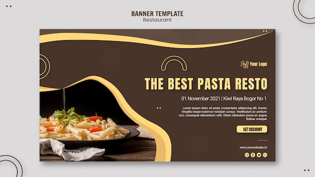Pasta restaurant banner template Free Psd