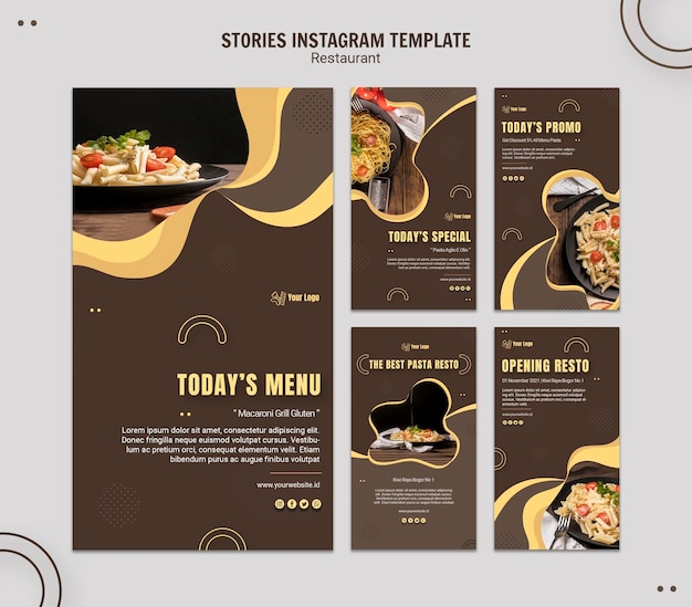 Pasta restaurant instagram stories template Free Psd