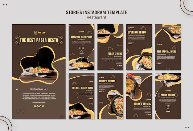 Pasta restaurant instagram stories template Free Psd