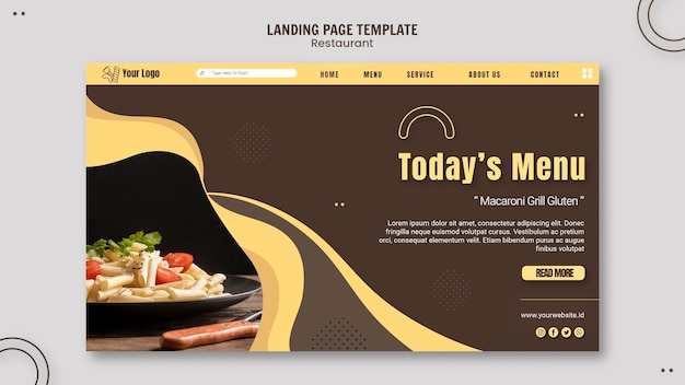 Pasta restaurant landing page template Free Psd