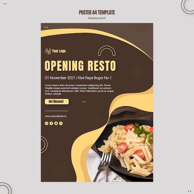 Pasta restaurant poster template Free Psd