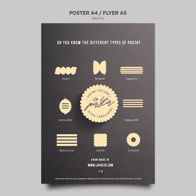 Pasta shop flyer template Free Psd