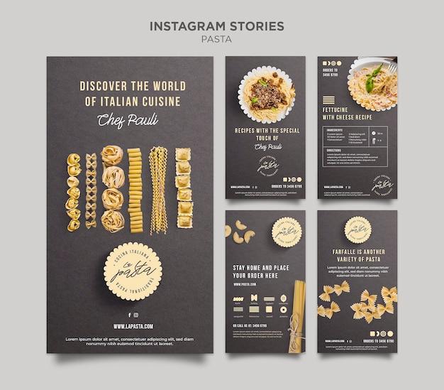 Pasta shop instagram stories template Premium Psd