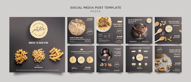 Pasta shop social media post template Premium Psd