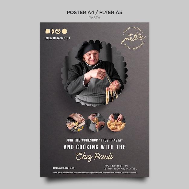 Pasta shop template flyer Free Psd