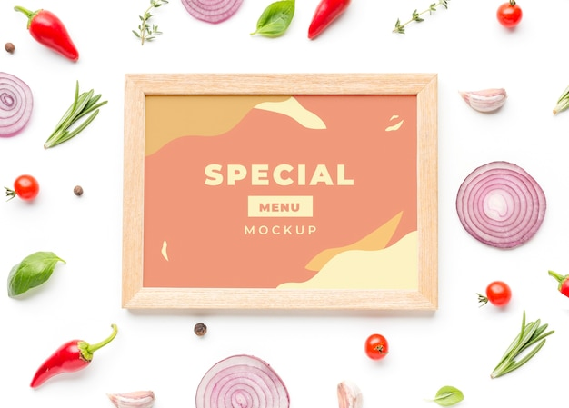 Pastel-coloured frame with arrangement of veggies Free Psd