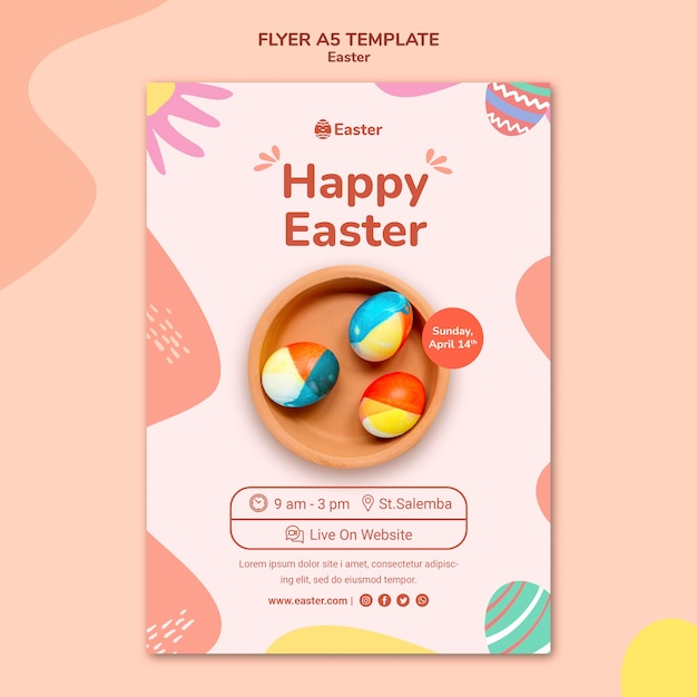 Pastel easter day poster template Free Psd