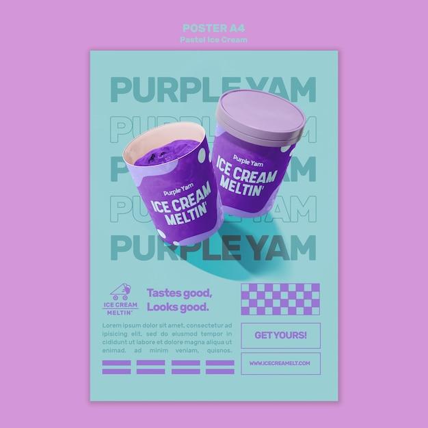Шаблон плаката пастельного мороженого с фото Бесплатные Psd