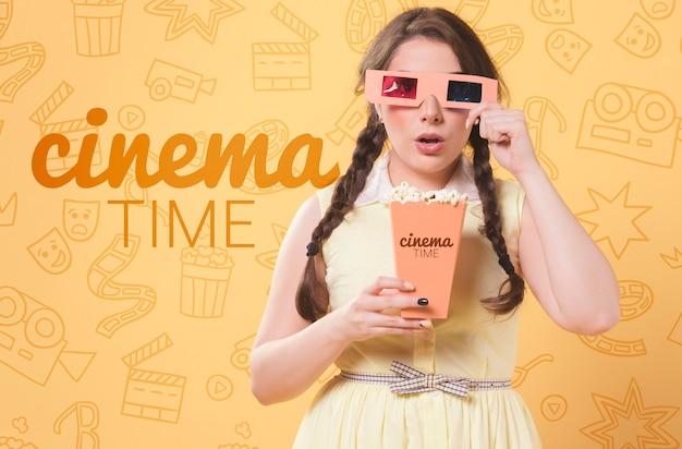Pastel spring cinema concept Free Psd