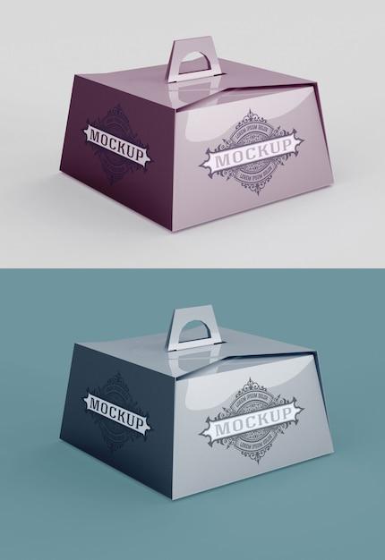 Мокап коробки для печенья с изолированной ручкой Premium Psd
