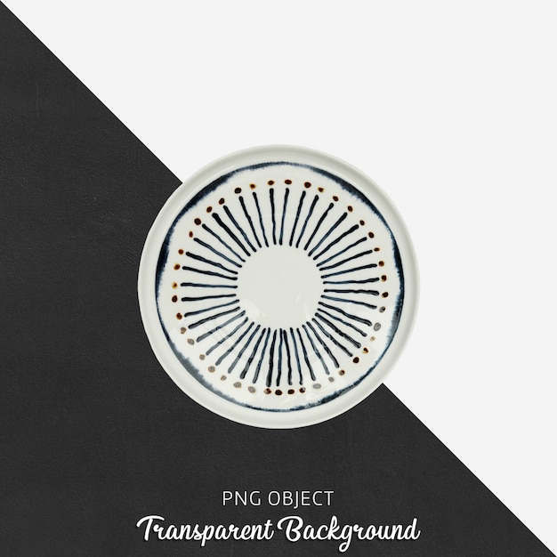 Patterned round serving plate on transparent background Premium Psd