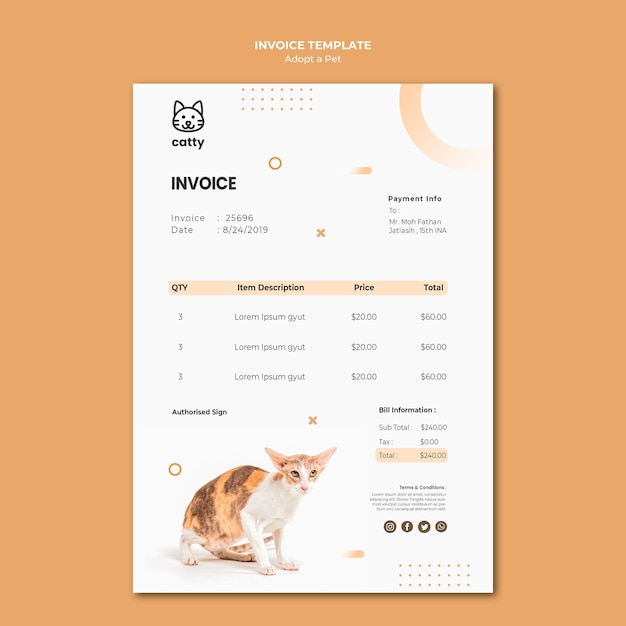 Payment invoice template for adopting a pet Free Psd