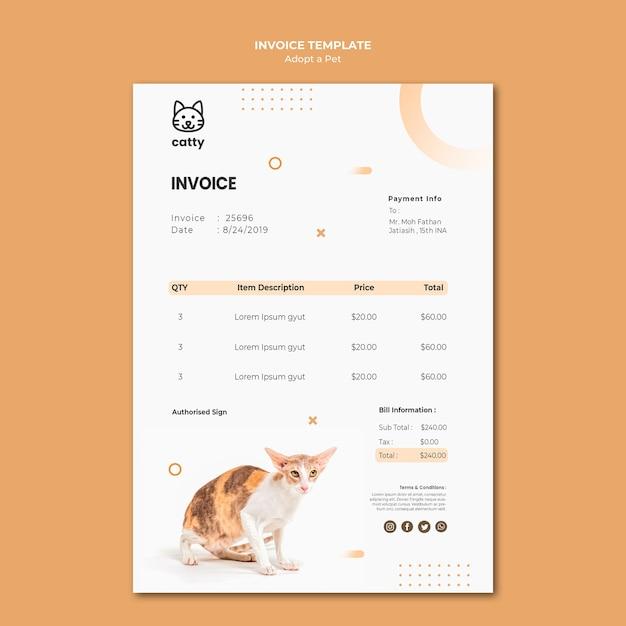 Шаблон платежной накладной для принятия домашнего животного Бесплатные Psd