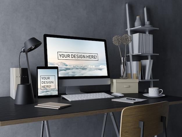 黒の現代屋内ワークスペースで編集可能なディスプレイとデスクトップpcとタブレットのモックアップデザインテンプレートを使用する準備ができて Premium Psd