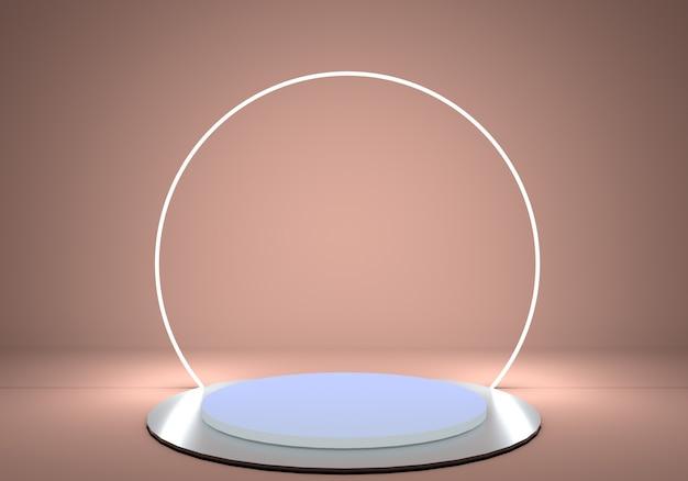 Цилиндрическая подставка на пьедестале с блестящим металлическим подиумом и круглой неоновой рамой Premium Psd