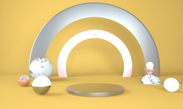 디스플레이 용 받침대, 디자인 용 플랫폼, 3d 렌더링의 빈 제품 프리미엄 PSD 파일