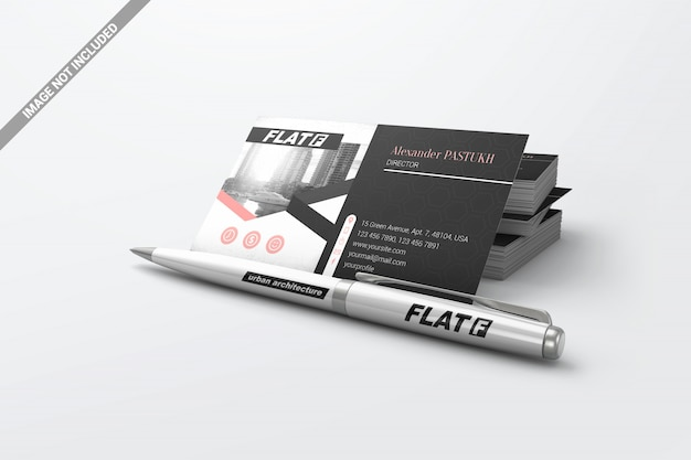 Pen with pile business cards mockup Premium Psd