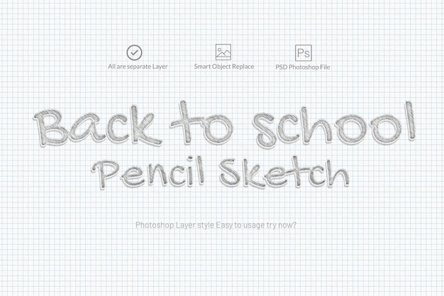 Pencil sketch text effect Premium Psd