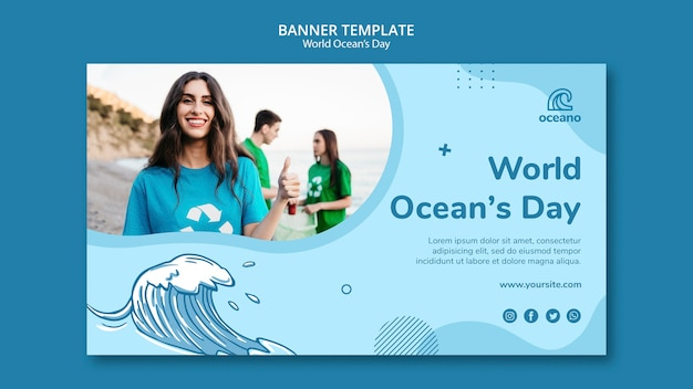People cleaning the beaches banner template Free Psd
