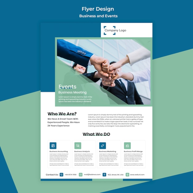 People creating a bond flyer business design Free Psd