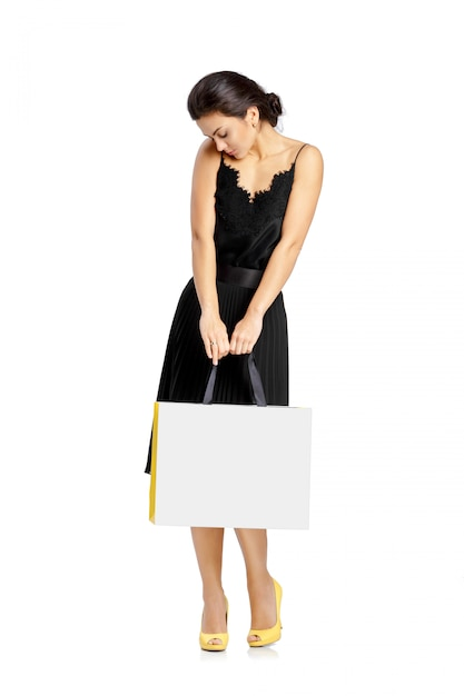 People, sale, black friday and luxury concept - woman shopping bags. Premium Psd