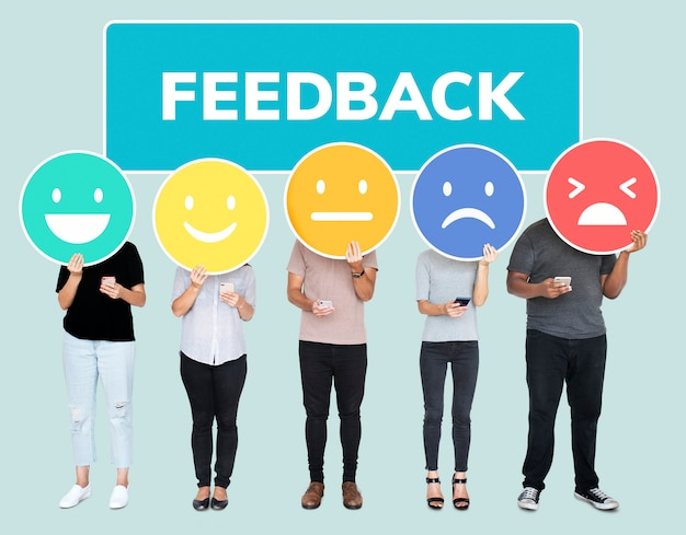People showing customer feedback evaluation emoticons Premium Psd
