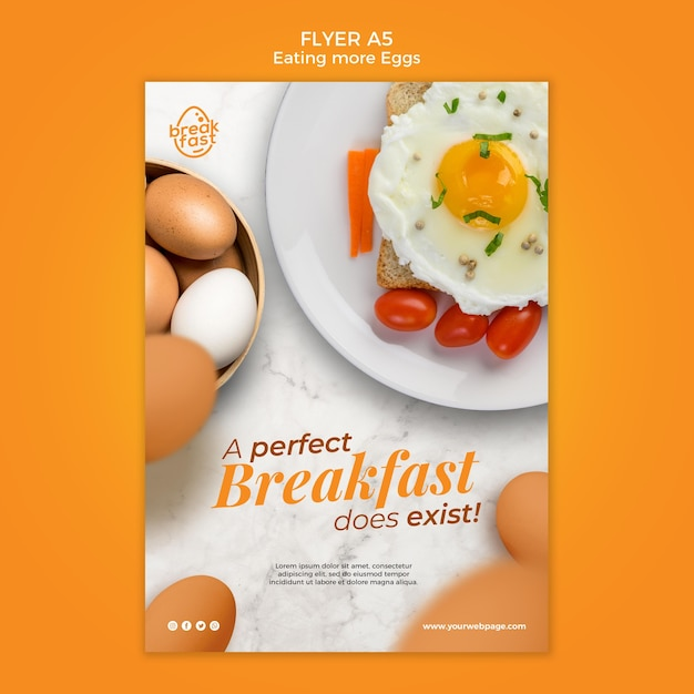 Colazione perfetta con modello di volantino di uova Psd Gratuite