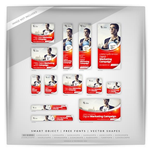 Perfect business marketing google banner set Premium Psd
