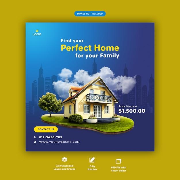 Идеальный дом для продажи шаблон социальных медиа баннер Premium Psd