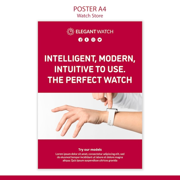 The perfect watch poster template Free Psd