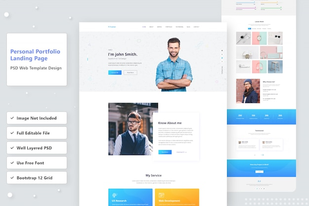 Premium Psd Personal Portfolio Website Landing Page Design